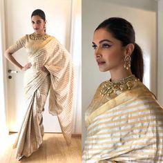 Deepika Padukone makes a strong case for metallic drape in this @raw_mango sari