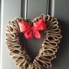 heart burlap wreath