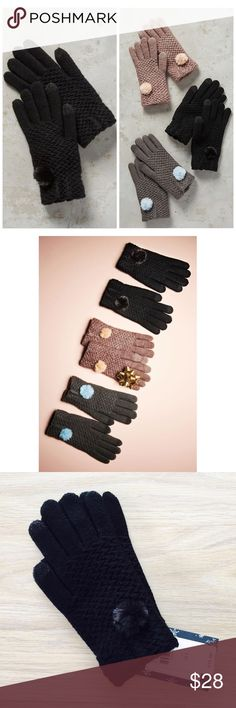 """Anthropologie Black Pommed Berkshire Gloves Details: Color: Black; Size: One Size.  Brand new with tags. This color (black) has been sold out for a few weeks. Warm your hands with these playful and comfy pommed gloves. Touch glove features are friendly with all of your gadgets and gizmos. These tech-savvy gloves swipe, type & tweet whatever the weather. Acrylic, polyester Pom-pom detail Spot clean Imported Style No. 40431249 Dimensions 8""""L Anthropologie Accessories Gloves & Mittens"""