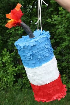 Firecracker piñata, of July piñata, summer piñata, Fireworks piñata, forth of July piñata. 4th Of July Celebration, 4th Of July Party, Fourth Of July, 4th Of July Ideas, Patriotic Party, 4. Juli Party, 4th Of July Games, July Birthday, Birthday Ideas