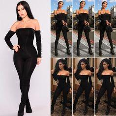 e666d6e27a7b Hirigin Romper Bodysuit Womens Fall 2018 Off Shoulder Clubwear Playsuit  Bodycon Party Jumpsuit Romper Trousers Sexy Jumpsuit