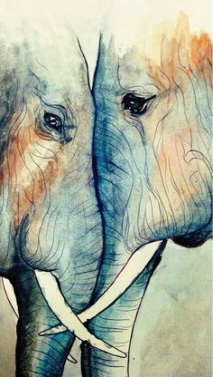 """radiantoptimism: """" I felt like messing around with watercolors some. Began with a simple ballpoint pen sketch in my Moleskine and painted over it. They look like they love each other to drawing elephant Art And Illustration, Elephant Illustration, Art Inspo, Art Amour, Elephant Love, Water Color Elephant, Art Design, Oeuvre D'art, Love Art"""