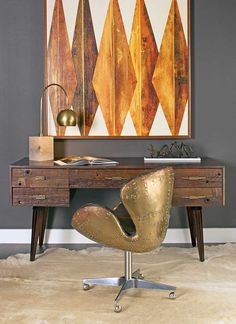 Tribal Moderne: Make your workspace you own private getaway. Mitchell Desk,  $1,699 Benjamin  Moore Kendall Charcoal