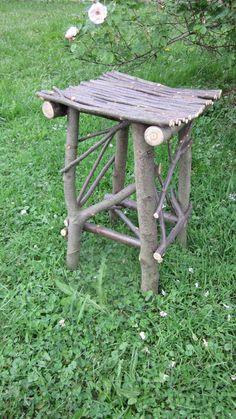 Twig Table Handmade OOAK Sweet Birch Wood Rustic End Table Pennsylvania… Willow Furniture, Rustic Furniture, Garden Furniture, Into The Woods, Rustic Toys, Rustic Decor, Rustic End Tables, Garden Chairs, Woodworking Furniture