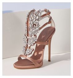 CRUEL SPARKLE —an iconic sandal reimagined in pale pink satin and a dizzying array of leaf-cut crystals. High Heels For Prom, Walking In High Heels, Stilettos, Pumps, Bridal Shoes, Wedding Shoes, Timberland High Heels, Giuseppe Zanotti Heels, Beautiful High Heels