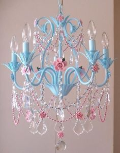 Amazing for Lil Girls Room!! - You can find these old light fixtures at garage sales and antique stores really cheap. A little paint and a string of crystal beads, and the next thing you know you have a beautiful updated fixture!