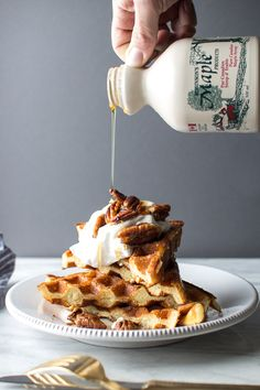 Light and Fluffy Waffles with Chantilly Cream and Maple Pecans