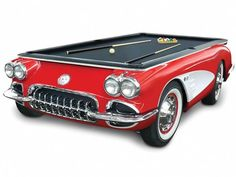 What a waste of a perfect good Corvette. The 1959 Corvette Billiards Table - Hammacher Schlemmer Hammacher Schlemmer, Carros Vintage, Car Furniture, Play Pool, 3d Prints, Cool Items, Cool Gadgets, My Dream Home, Game Room