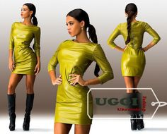 Stylish Sexy Woman Dress Eco-leather 3/4 Sleeve Bodycon Above Knee #Unbranded #StretchBodycon #Casual