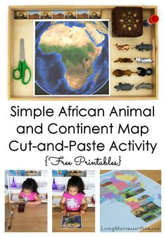 This simple cut-and-paste activity with free printables helps preschoolers identify African animals their place on a map of Africa; two levels of Montessori geography activities are included - Living Montessori Now Geography Activities, Montessori Activities, Animal Activities, Kindergarten Activities, Montessori Homeschool, Homeschooling, Free Preschool, Preschool Themes, Preschool Lessons
