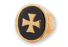 Black Onyx Ring Heraldic Templar Cross Over-laid Gold by Regnas