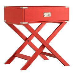 With an eye-catching design enhanced by an attention-grabbing finish, the iNSPIRE Q Callie Campaign Accent Table provides convenient storage and style in any living space. Hardwood construction with sturdy X-base plus satin nickel hardware. Red Nightstand, Bedside, Dresser, Living Room Accents, End Tables With Storage, Wood Accents, Table Legs, Boutique, Storage Spaces