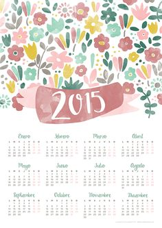 Imprimible: calendario 2015 | milowcostblog♥ Creative Calendar, Calendar Design, Design Fonte, Planners, Diy Agenda, Cupcake Toppers Free, Blog Planner, Free Graphics, Free Prints