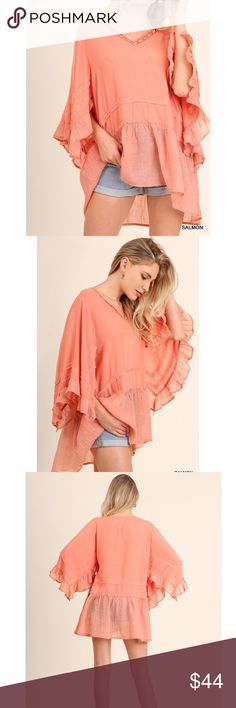 Salmon Crochet V Neck Tunic Top Salmon Crochet V neck Tunic Top with ruffled sleeve and hem detail. Made of poly/ cotton spandex blend. Fits true to size. Available in Latte Bchic Tops Tunics