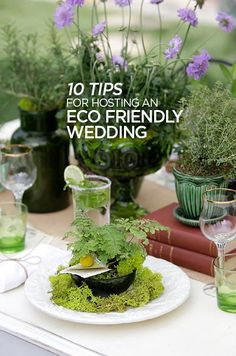 Vintage books and vessels collected from thrift stores are a great way to reduce, reuse and recycle for your eco-chic wedding.
