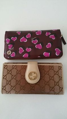 Gucci Wallets $250 each Hearts is new with box Other one has been used once. Also comes with box #gucci #wallet #fashion #luxury #style #monogram #hearts #p4foz
