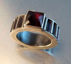 A personal favorite from my Etsy shop https://www.etsy.com/ca/listing/222836815/square-garnet-corrugated-ring
