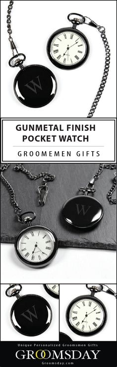 A genuine example of superior style and distinguished design, this engraved pocket watch with gunmetal finish is an accessory of pure refinement and will be a treasured timepiece for years. Distinguished groomsmen gift, best man gift, or father's day gift. Be sure to pin and follow for more unique Groomsmen Gift ideas || Groomsday.com
