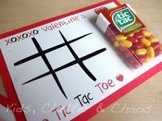 FREE PRINTABLE - Tic Tac Toe Kids Valentine's Day Cards