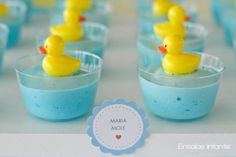 Top off your baby shower desserts with little rubber duckies! Via Kara's Party Ideas @HUGGIES Baby Shower Planner Baby Shower Planner