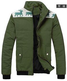 Stand Collar Long Sleeve Men Army Green Cotton Coat M/L/XL/XXL @1802SJyf02argr