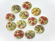 12 Flower Pattern Wooden Buttons