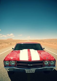 Chevy Chevelle SS 454 in Cherry red with stripes. Classic American Muscle. Oh my God yes!