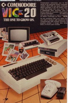 Commodore - my first computer. I would spend HOURS learning to program in BASIC on this thing! Alter Computer, Home Computer, Gaming Computer, Vintage Advertisements, Vintage Ads, Radios, Consoles, 8 Bits, Vintage Video Games