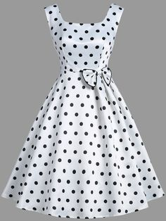 Vintage Clothes Vintage Polka Dot Bowknot Sleeveless Dress - Cheap Fashion online retailer providing customers trendy and stylish clothing including different categories such as dresses, tops, swimwear. Trendy Dresses, Cute Dresses, Beautiful Dresses, Casual Dresses, Casual Outfits, Vintage Dresses Online, Vintage Outfits, Vintage Fashion, Dress Vintage