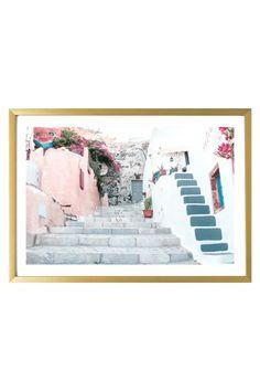 Greece Print - Santorini Art Print - Calliope Teen Bedroom Designs, Bedroom Ideas, Wall Art Decor, Wall Art Prints, Pastel Home Decor, Pastel Walls, Pastel House, Travel Wall Art, College Dorm Decorations
