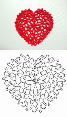 Lace heart pattern diagram #crochet #motif