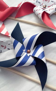 Pinwheels - nautical, anchors, stripes, red white and blue, summer, ocean, birthday party, baby shower. Www.facebook.com/pinwheelsbylindsay .......... Available Now