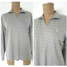 Ralph Lauren Top Size Small Shirt Gray Check Polo Golf Womens Long Sleeve   RalphLauren  PoloShirt  Casual 6fb1649eaf40