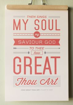 Vintage Typography Poster Print  How Great Thou by ckdesignmission, $15.00