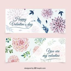Cute floral banners for valentine day Free Vector