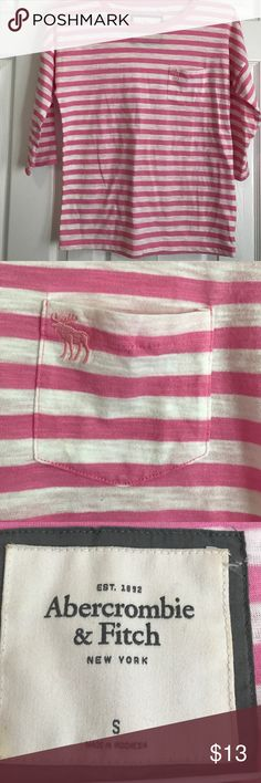 Pink and white striped 3/4 sleeve Abercrombie tee Size small Abercrombie striped tee pink and white with single pocket Abercrombie & Fitch Tops Tees - Long Sleeve