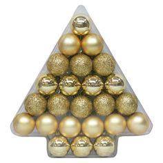 Christmas Ornament Set Gold 40mm 24 Ct