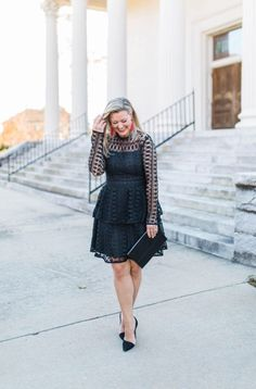 The perfect holiday party outfit dress with long sleeves and lace.