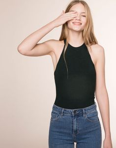 Pull&Bear - woman - t-shirts & tops - halter neck top - bottle - 09243323-V2016