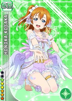 angel blue_eyes character_name dress happy kousaka_honoka love_live!_school_idol_festival love_live!_school_idol_project orange_hair short_hair side-ponytail
