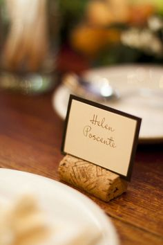 Placecards..by using saved wine corks! bring on the wine drinking, girls. @Jessica Aungst  @Andi Elaine
