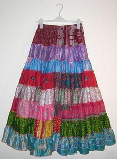 14 Yard Silk Sari Patchwork Skirt. £20 + p