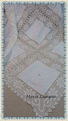Crochet Borders, Filet Crochet, Crochet Lace, Crochet Stitches, Crochet Tablecloth, Tatting, Needlework, Diy And Crafts, Projects To Try