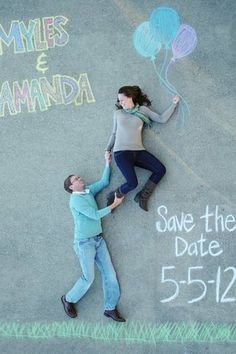 Chalk on the Street Save The Date Photo Idea. See more here: 27 Cute Save the Date Photo Ideas | Confetti Daydreams ♥ ♥ ♥ LIKE US ON FB: www.facebook.com/confettidaydreams ♥ ♥ ♥ #Wedding #SaveTheDate #PhotoIdeas