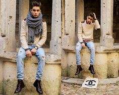 Beware with the fat scarfs. Classical sweaters is doing it right.