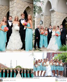 I love the pop of blue against the black tuxes. And that splash of orange and pink in the bouquets! My colors forsure ❤️