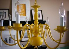 I have an old wrought iron chandelier like this that we could spray paint a fun color?  Not sure how it'll work with the wiring there though.