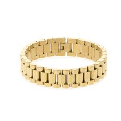 """Bracelet: - High Quality, 316L Stainless Steel - PVD Gold Plated - Bracelet Width: Approximately 14.5mm - Bracelet Length: Approximately 8"""" - 18K PVD Gold Stainless Steel Finish - Fold Over Clasp Mode"""