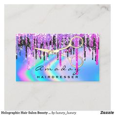 Holographic Hair Salon Beauty Salon Drips Scissors Business Card