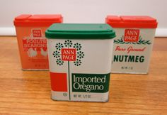 3 Decorative vintage Ann Page spice tins Imported Oregano, Poultry Seasoning, Nutmeg green pink and red by CircularVintage on Etsy